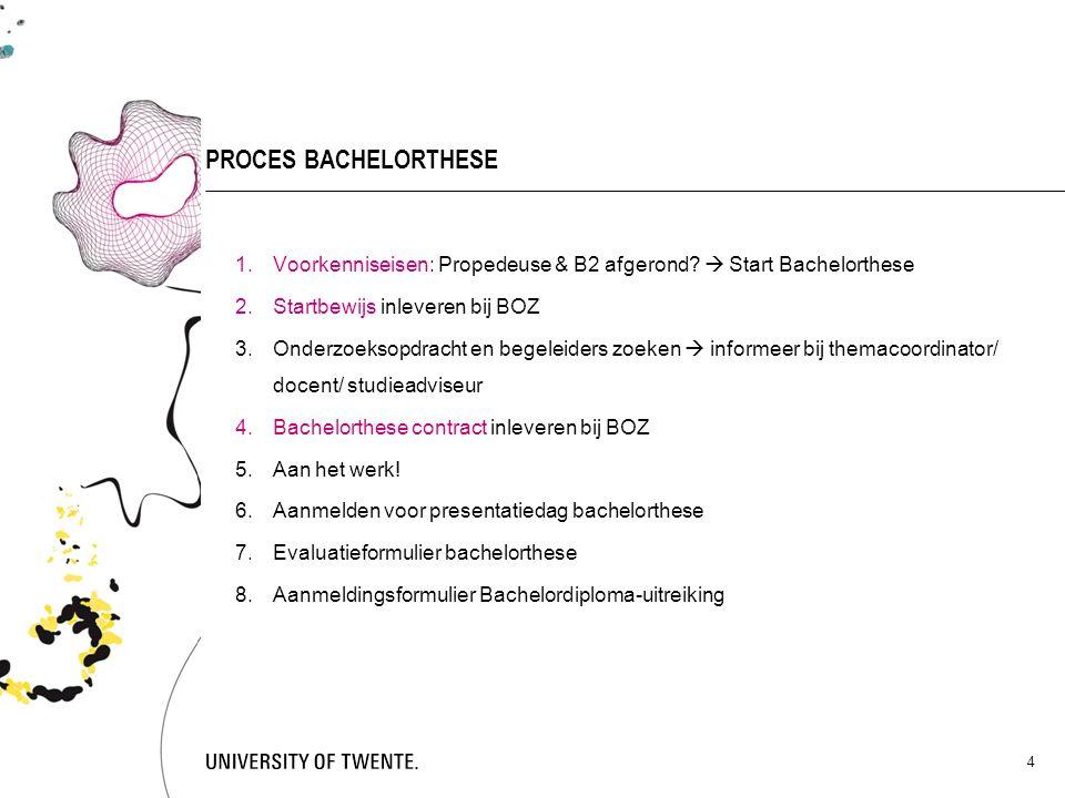 PROCES BACHELORTHESE Voorkenniseisen: Propedeuse & B2 afgerond  Start Bachelorthese. Startbewijs inleveren bij BOZ.