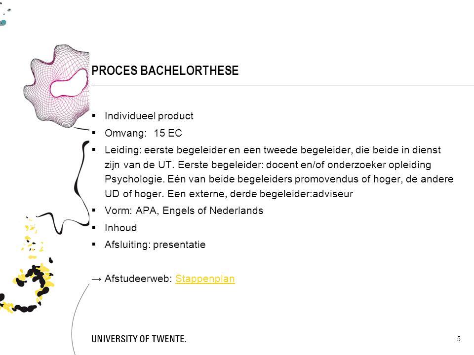 PROCES BACHELORTHESE Individueel product Omvang: 15 EC