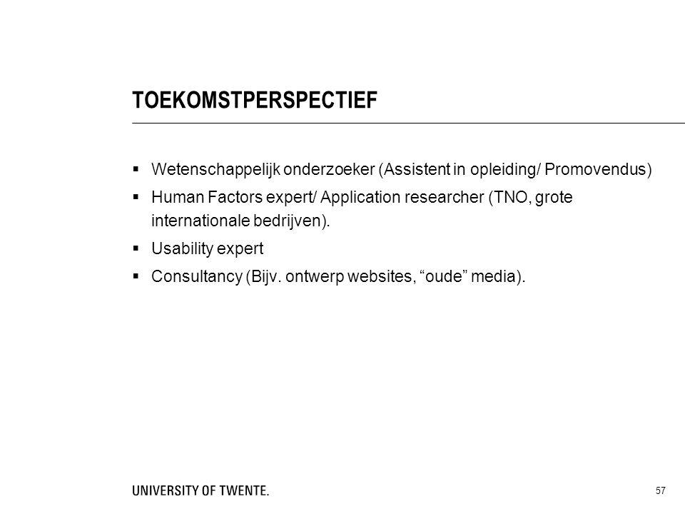 TOEKOMSTPERSPECTIEF Wetenschappelijk onderzoeker (Assistent in opleiding/ Promovendus)