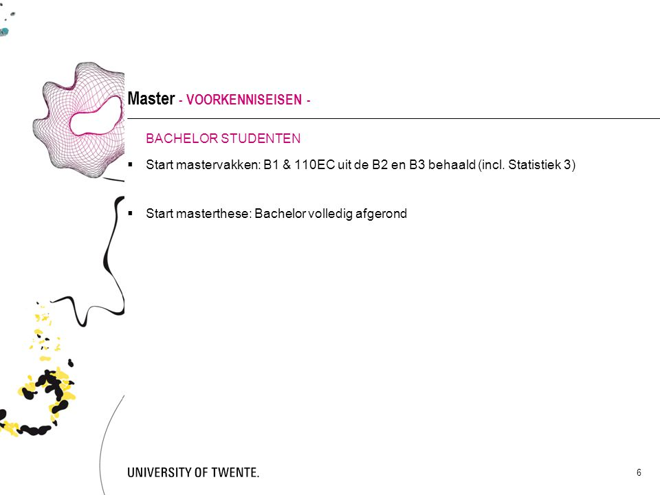 Master - VOORKENNISEISEN -