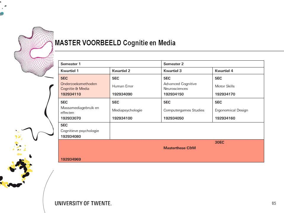 MASTER VOORBEELD Cognitie en Media