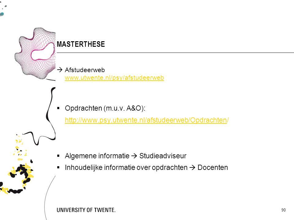 MASTERTHESE Opdrachten (m.u.v. A&O):