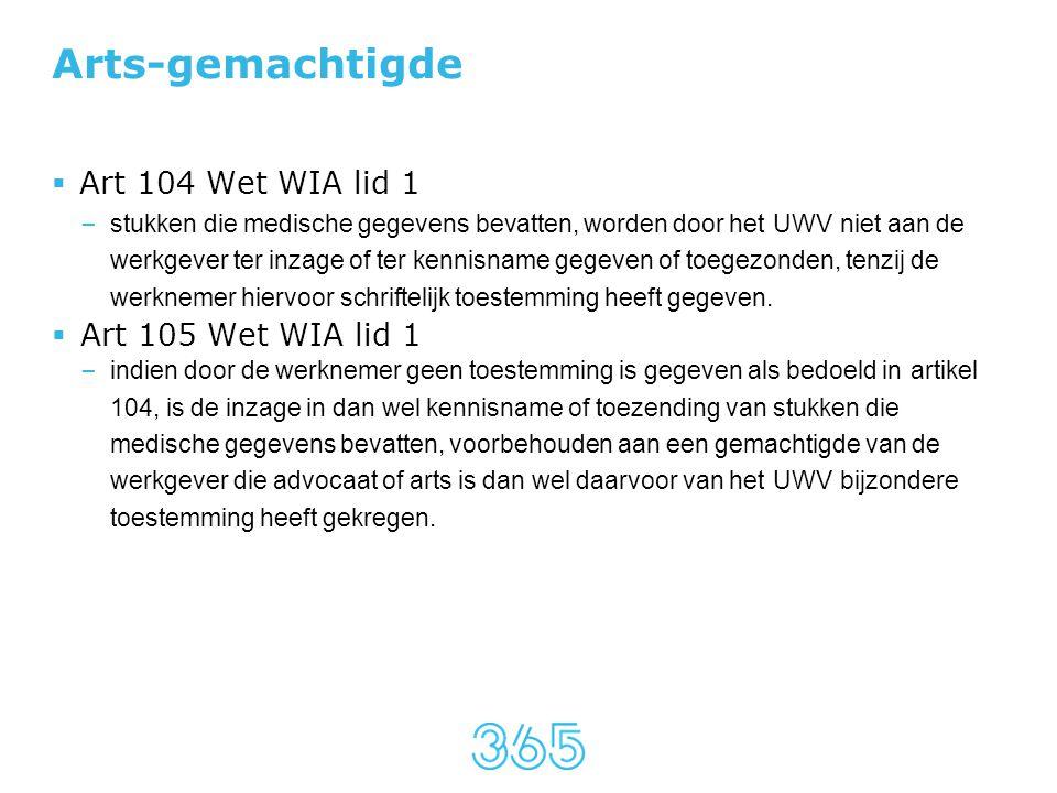 Arts-gemachtigde Art 104 Wet WIA lid 1 Art 105 Wet WIA lid 1