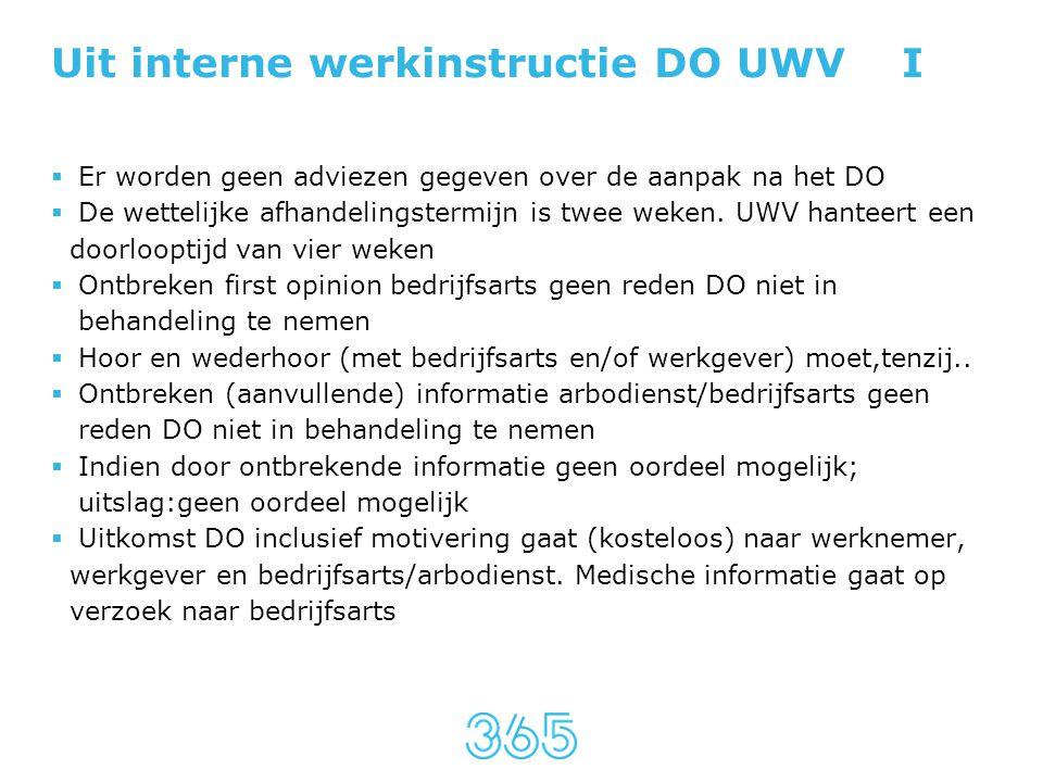 Uit interne werkinstructie DO UWV I