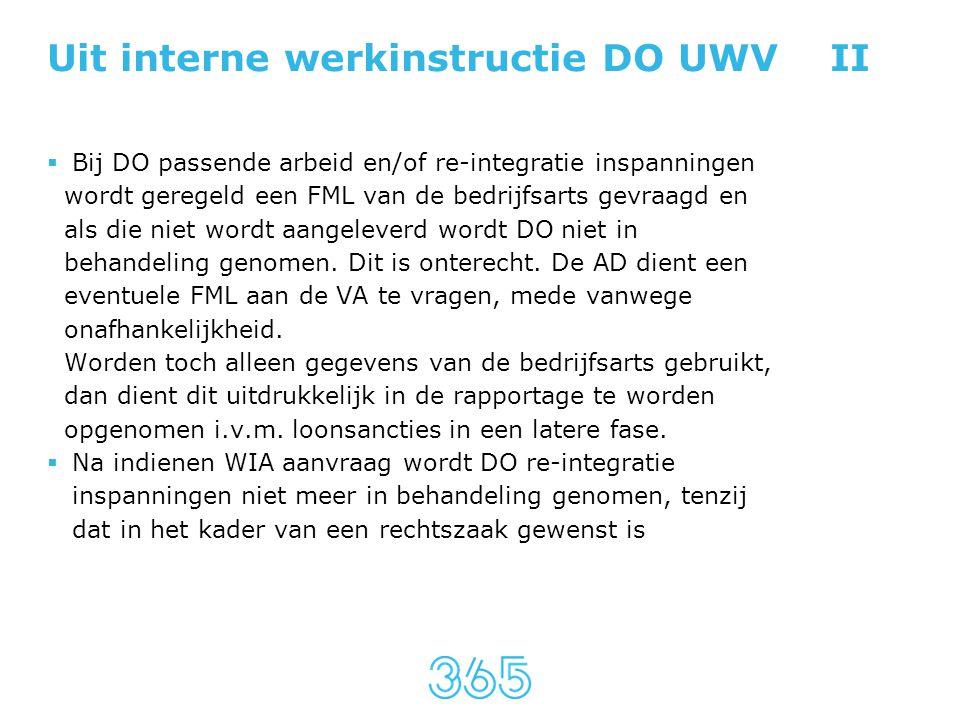 Uit interne werkinstructie DO UWV II