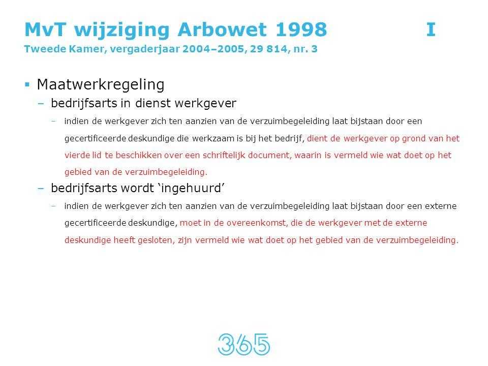 MvT wijziging Arbowet 1998 I Tweede Kamer, vergaderjaar 2004–2005, 29 814, nr. 3