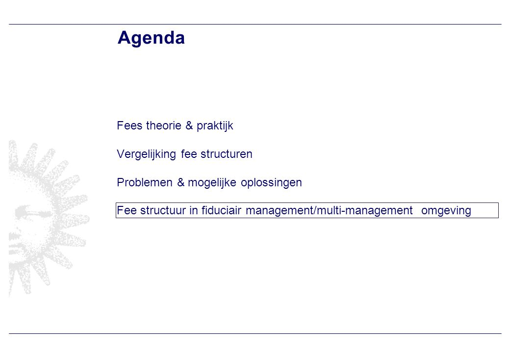 Optimale fees bij fiduciair management/ multi-management