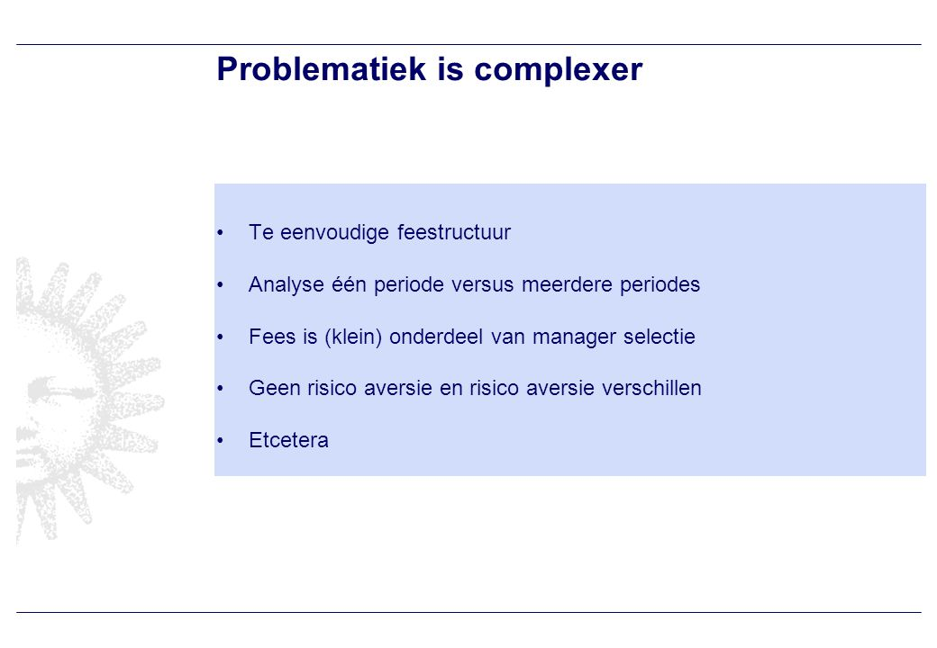 Voorbeeld multi-periode fee analyse
