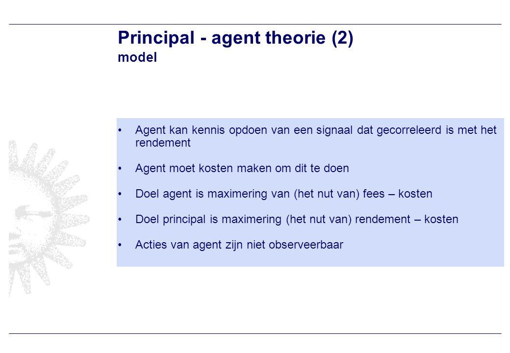 Principal – agent theorie (3) uitkomsten