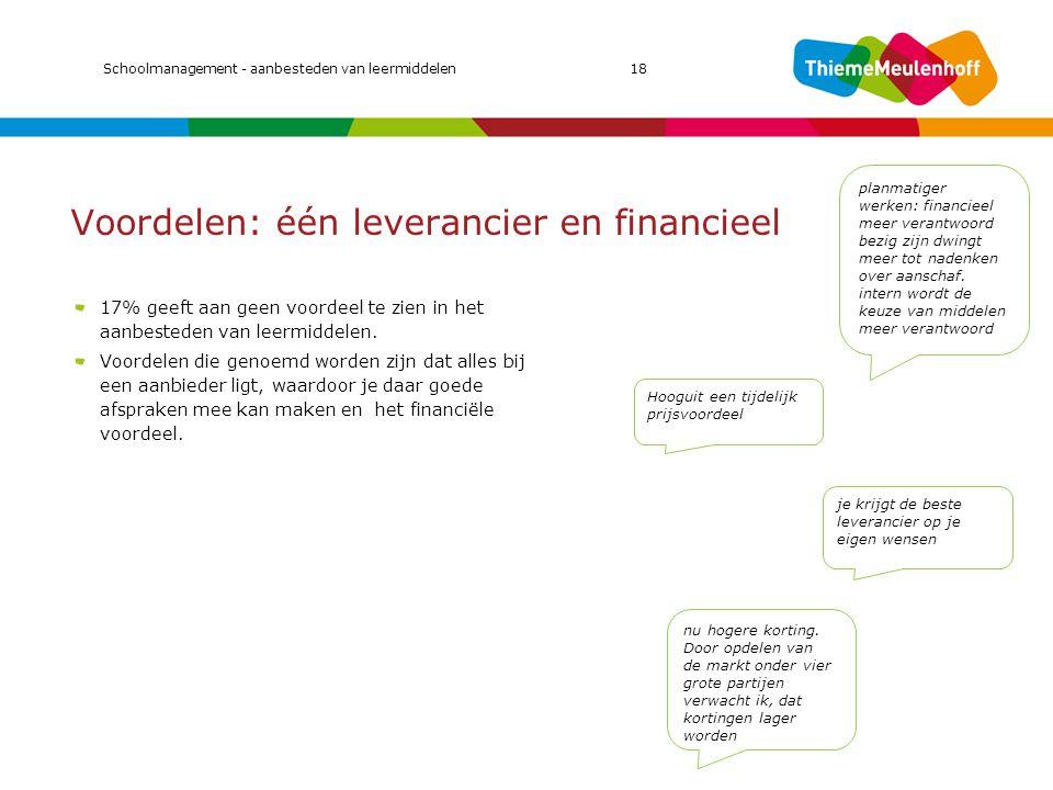 Voordelen: één leverancier en financieel