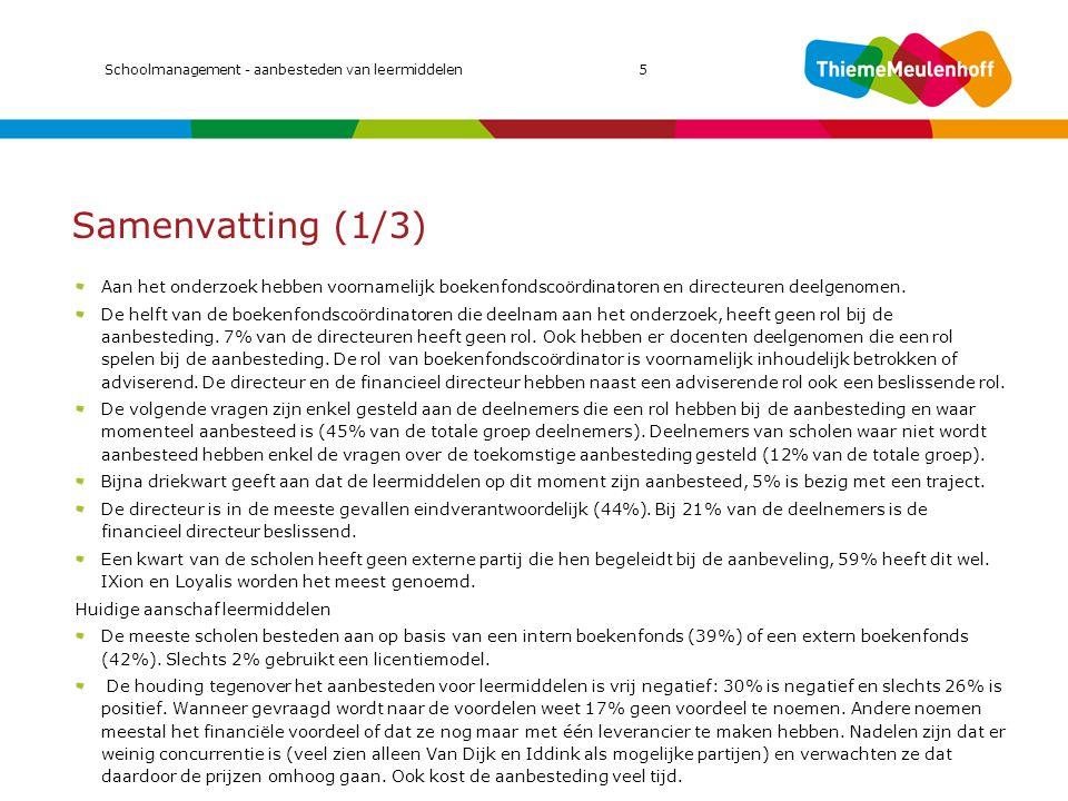 MIC 2011 Schoolmanagement - aanbesteden van leermiddelen 5. Samenvatting (1/3)