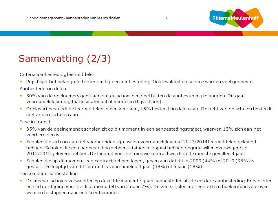 Samenvatting (2/3) MIC 2011 Criteria aanbesteding leermiddelen
