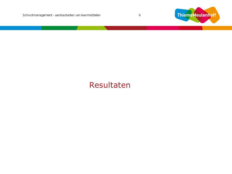 Resultaten MIC 2011 Schoolmanagement - aanbesteden van leermiddelen 9