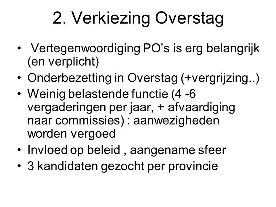 2. Verkiezing Overstag Vertegenwoordiging PO's is erg belangrijk (en verplicht) Onderbezetting in Overstag (+vergrijzing..)