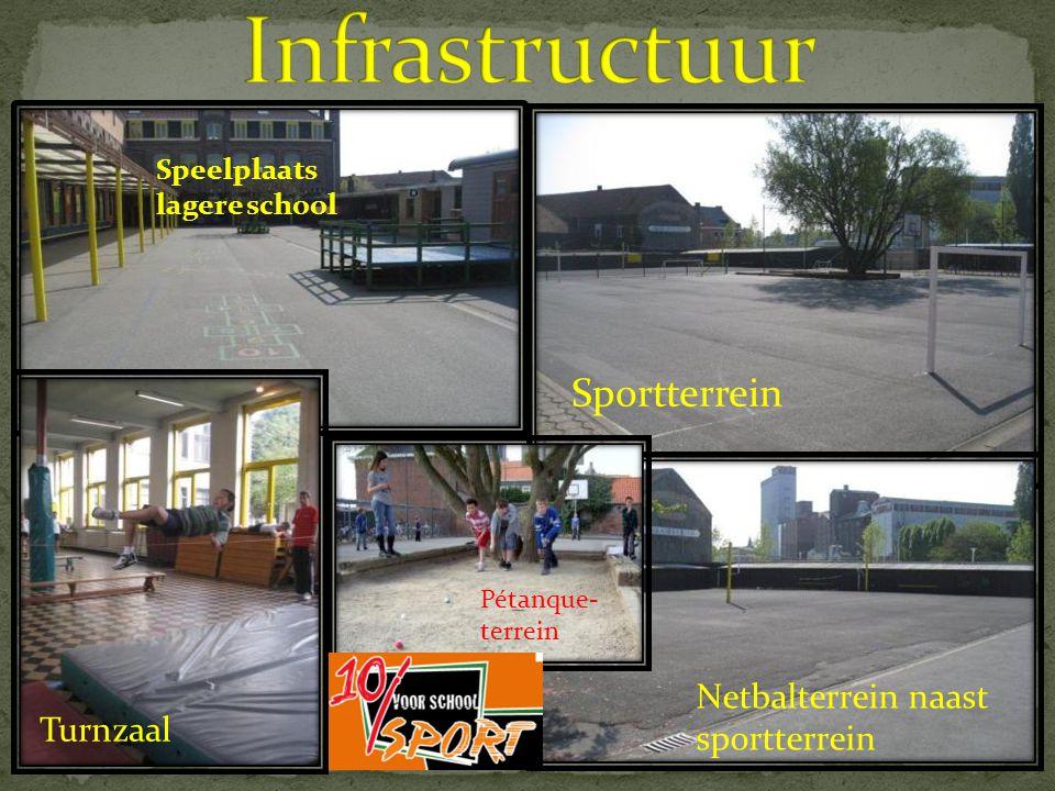 Infrastructuur Sportterrein Netbalterrein naast sportterrein Turnzaal