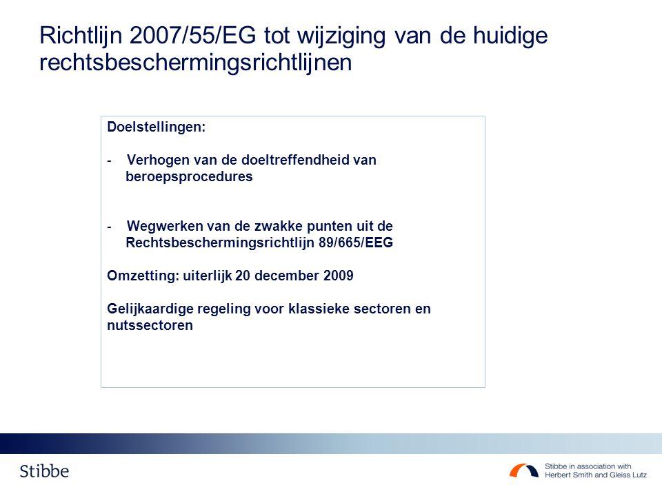 Richtlijn 2007/55/EG tot wijziging van de huidige rechtsbeschermingsrichtlijnen