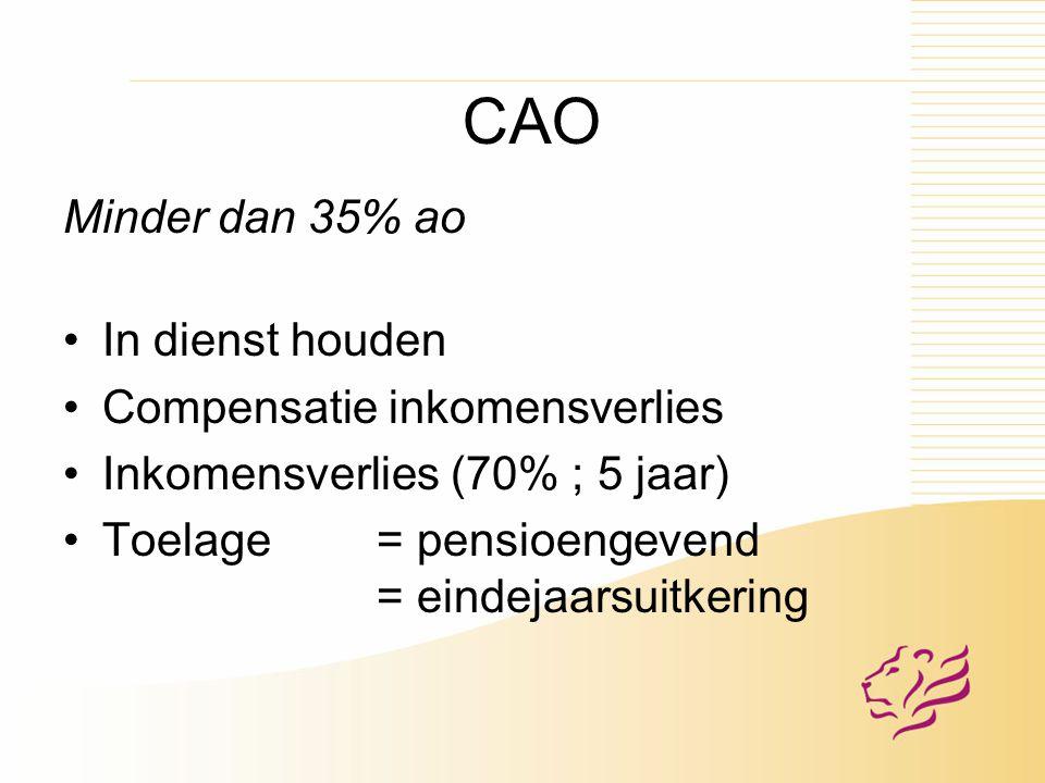 CAO Minder dan 35% ao In dienst houden Compensatie inkomensverlies