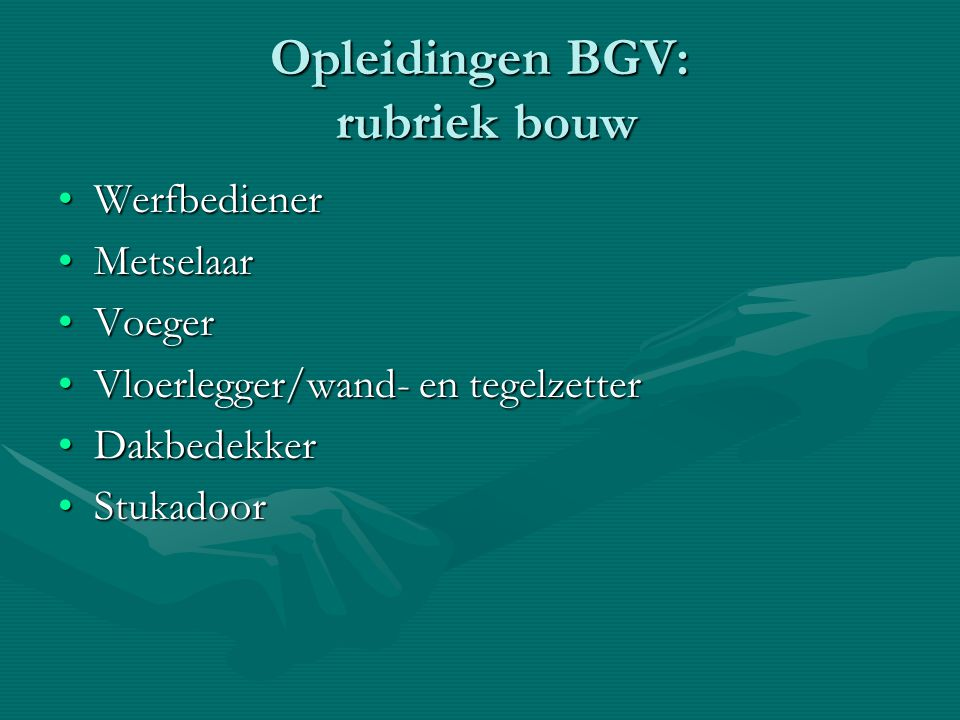 Opleidingen BGV: rubriek bouw