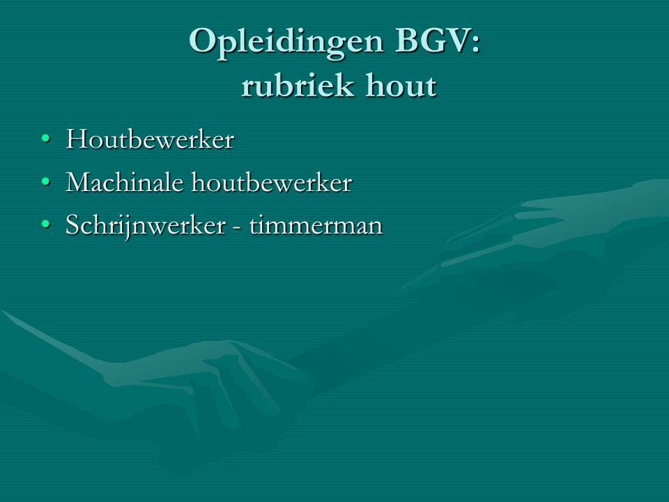 Opleidingen BGV: rubriek hout
