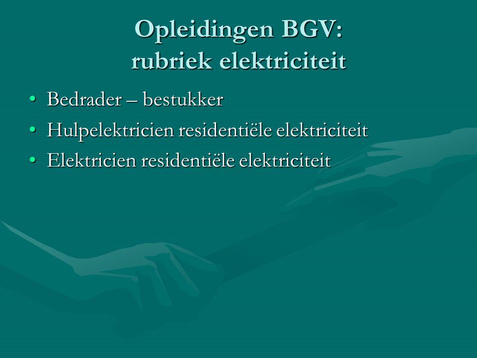 Opleidingen BGV: rubriek elektriciteit