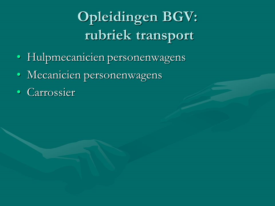 Opleidingen BGV: rubriek transport