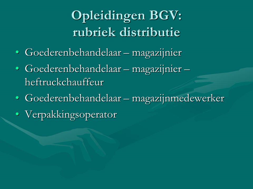 Opleidingen BGV: rubriek distributie