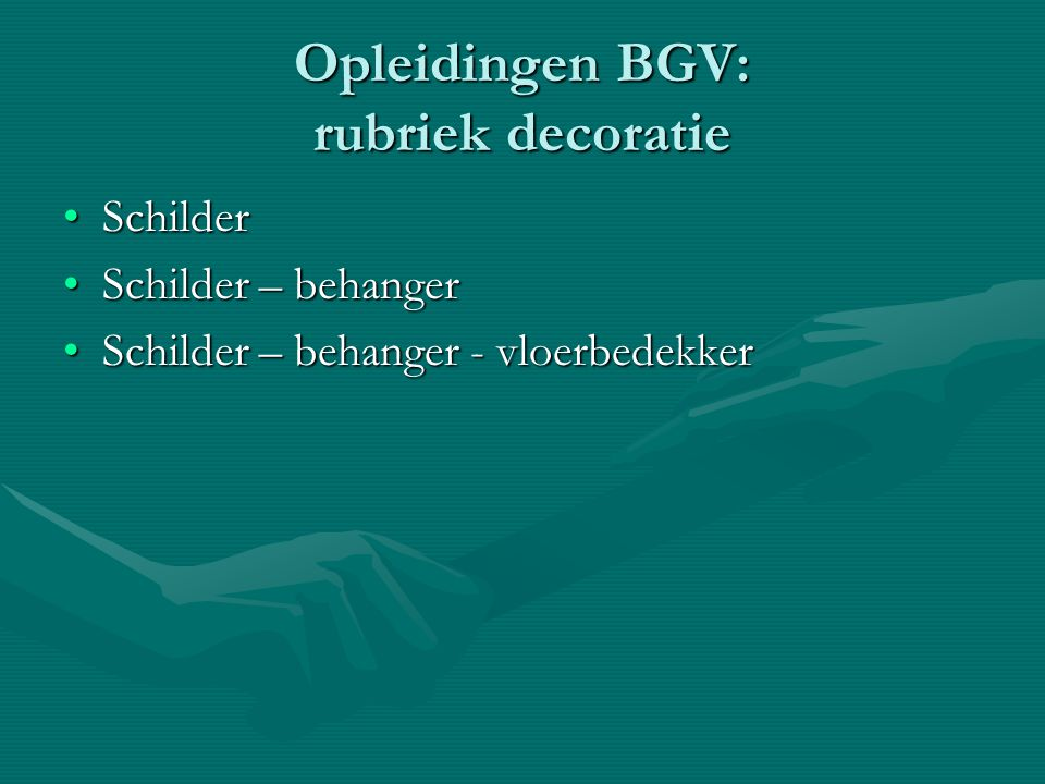 Opleidingen BGV: rubriek decoratie