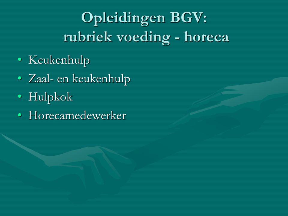 Opleidingen BGV: rubriek voeding - horeca