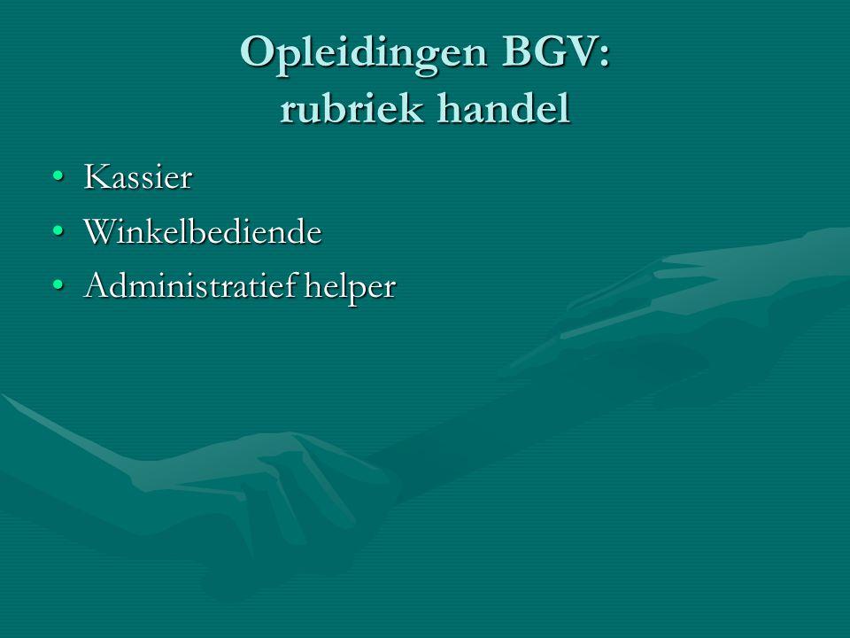 Opleidingen BGV: rubriek handel