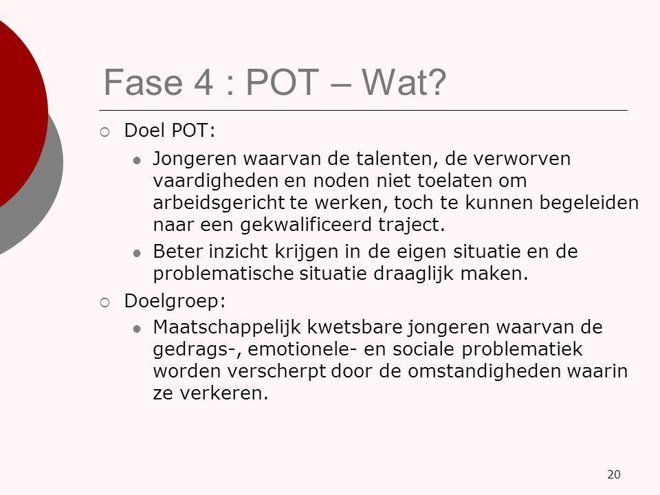 Fase 4 : POT – Wat Doel POT: