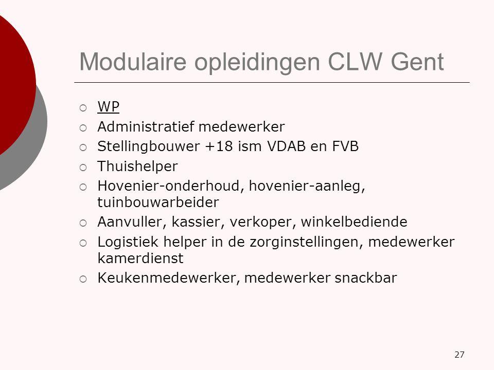 Modulaire opleidingen CLW Gent