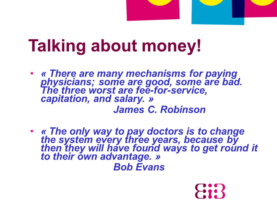 Talking about money!
