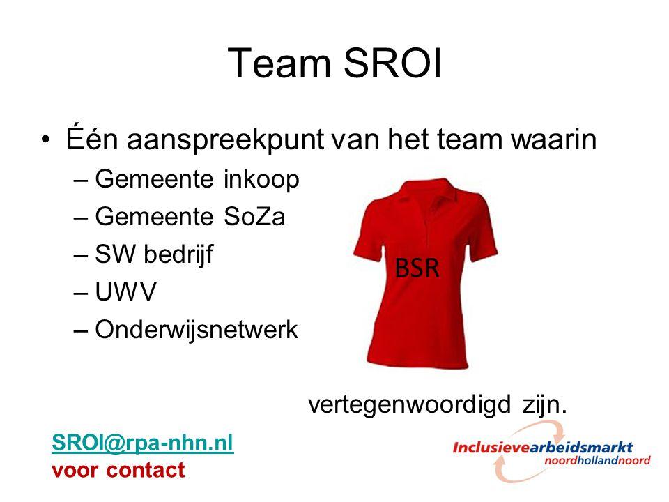 Team SROI Één aanspreekpunt van het team waarin BSR Gemeente inkoop