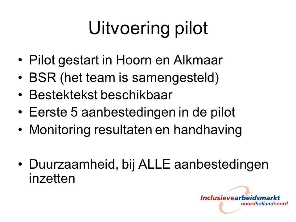 Uitvoering pilot Pilot gestart in Hoorn en Alkmaar