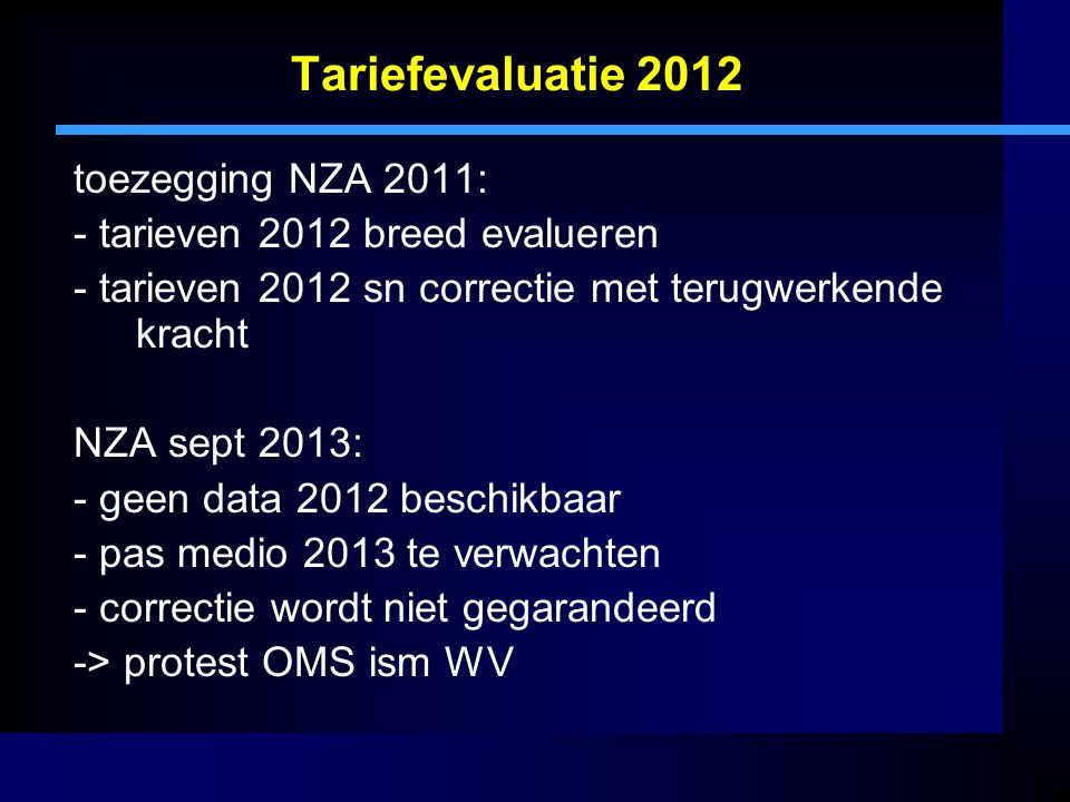 Tariefevaluatie 2012 toezegging NZA 2011: