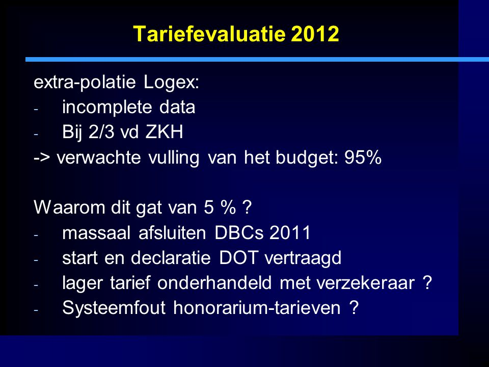 Tariefevaluatie 2012 extra-polatie Logex: incomplete data