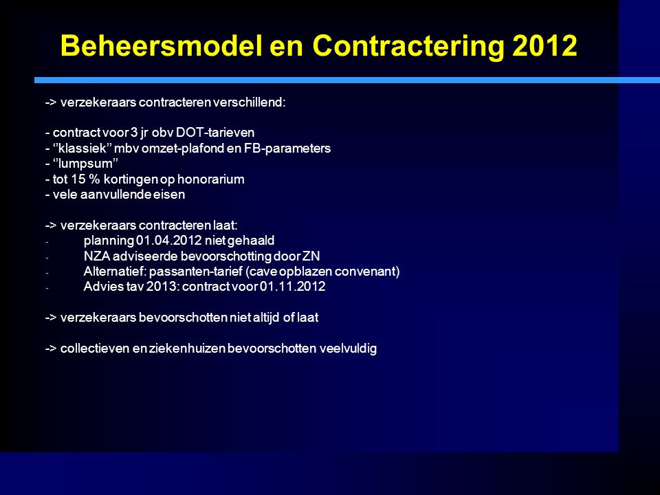 Beheersmodel en Contractering 2012