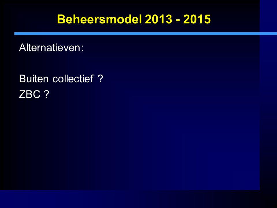Beheersmodel 2013 - 2015 Alternatieven: Buiten collectief ZBC