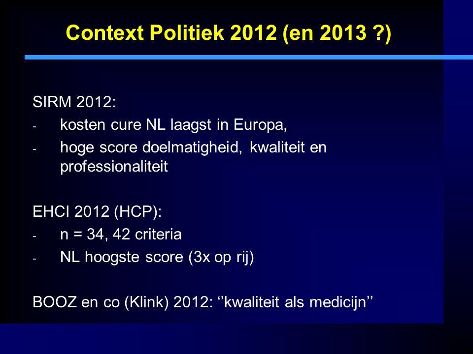 Context Politiek 2012 (en 2013 ) SIRM 2012: