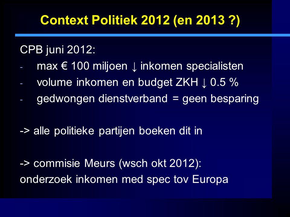 Context Politiek 2012 (en 2013 ) CPB juni 2012: