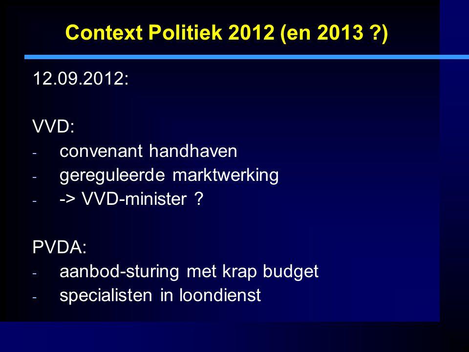 Context Politiek 2012 (en 2013 ) 12.09.2012: VVD: convenant handhaven