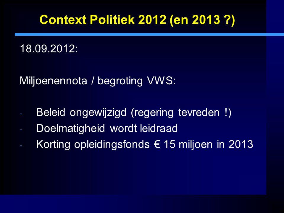 Context Politiek 2012 (en 2013 ) 18.09.2012: