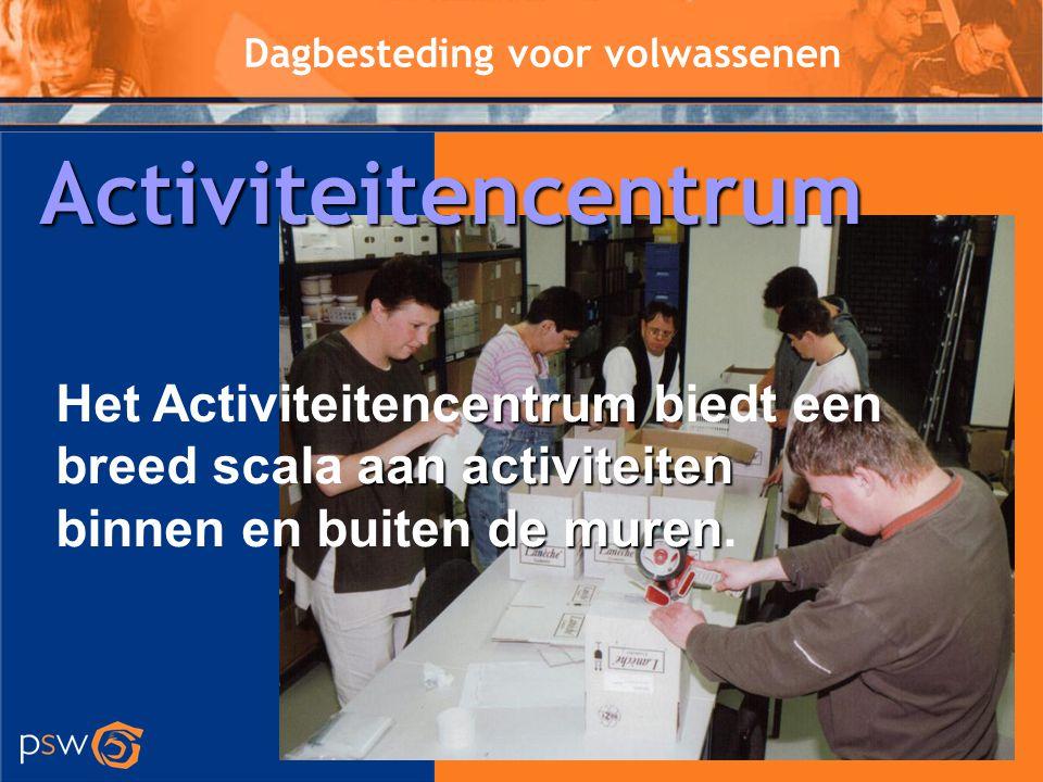 Activiteitencentrum Dagbesteding voor volwassenen. Het Activiteitencentrum biedt een breed scala aan activiteiten.