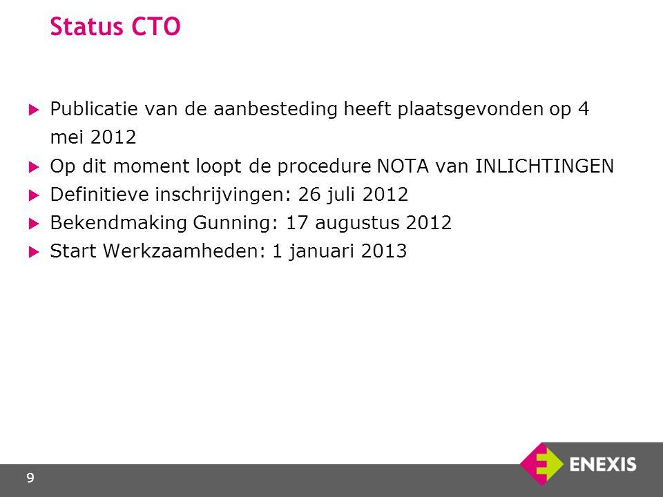 Status CTO Publicatie van de aanbesteding heeft plaatsgevonden op 4 mei 2012. Op dit moment loopt de procedure NOTA van INLICHTINGEN.