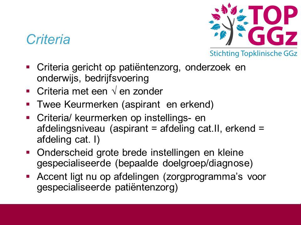 Criteria Criteria gericht op patiëntenzorg, onderzoek en onderwijs, bedrijfsvoering. Criteria met een √ en zonder.
