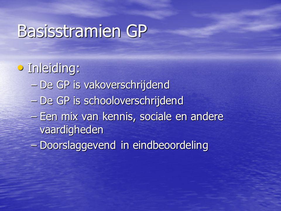 Basisstramien GP Inleiding: De GP is vakoverschrijdend