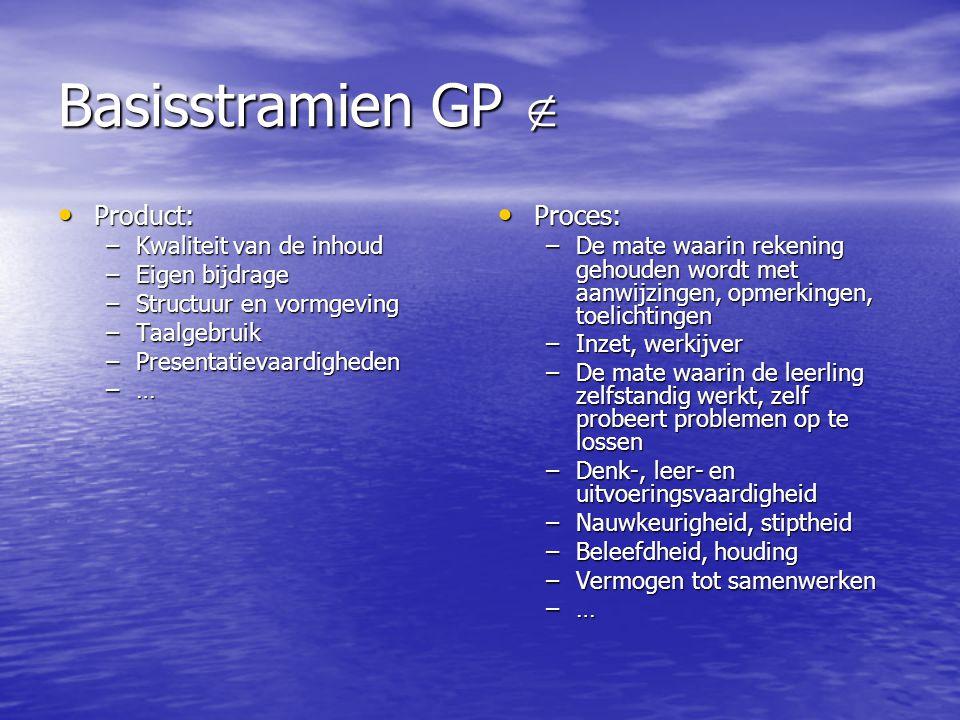 Basisstramien GP  Product: Proces: Kwaliteit van de inhoud