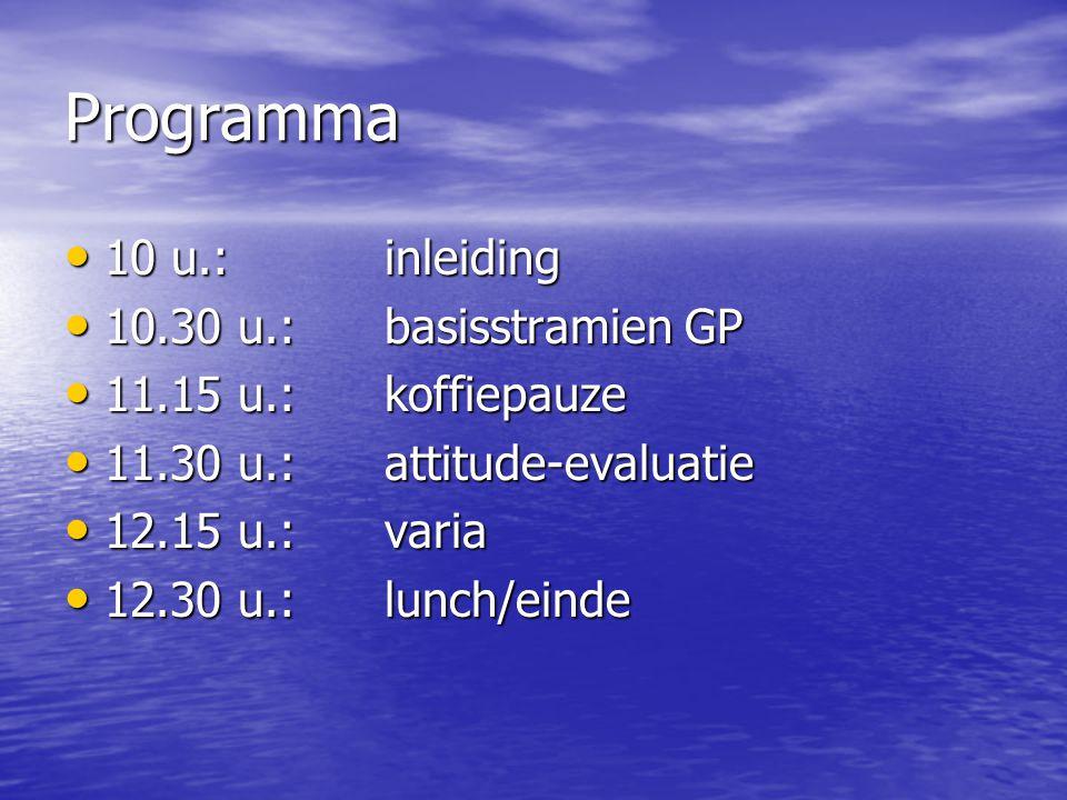 Programma 10 u.: inleiding 10.30 u.: basisstramien GP