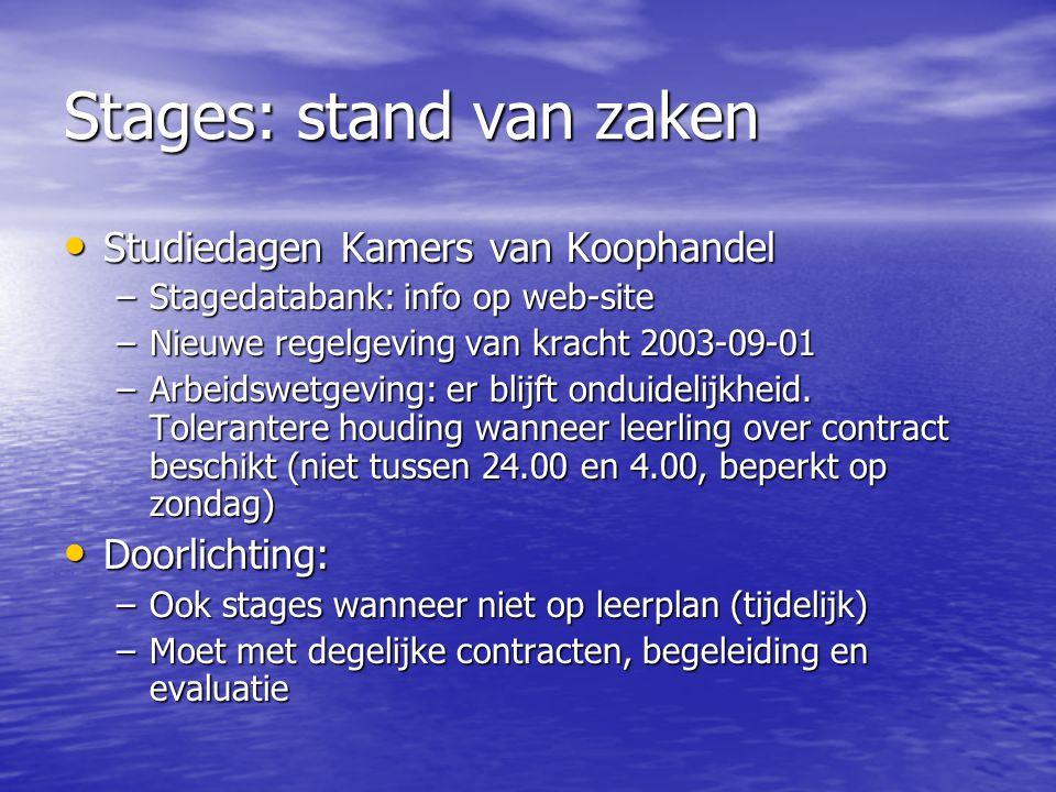 Stages: stand van zaken