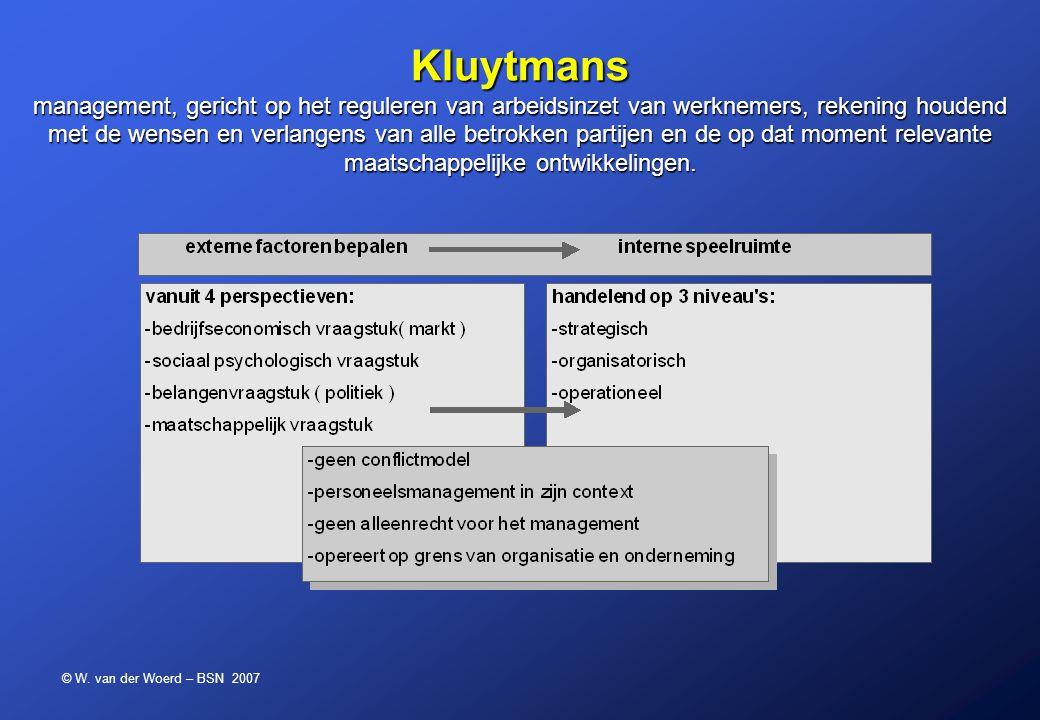Kluytmans management, gericht op het reguleren van arbeidsinzet van werknemers, rekening houdend met de wensen en verlangens van alle betrokken partijen en de op dat moment relevante maatschappelijke ontwikkelingen.